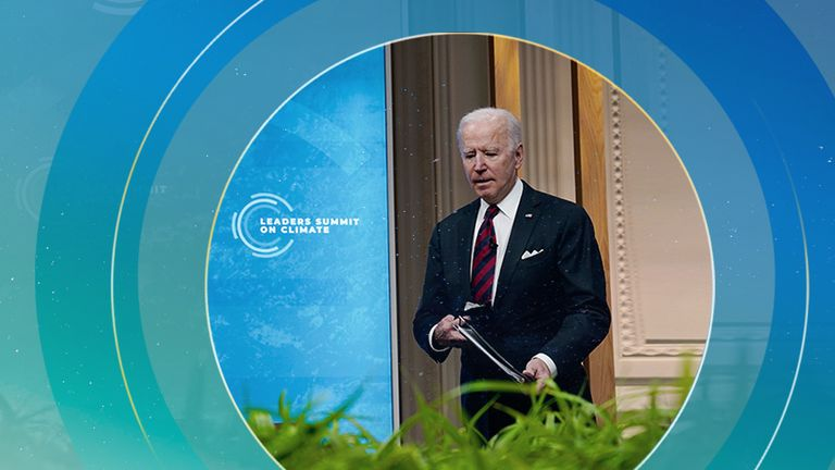 It was Joe Biden's party at the virtual summit. Pic: Associated Press