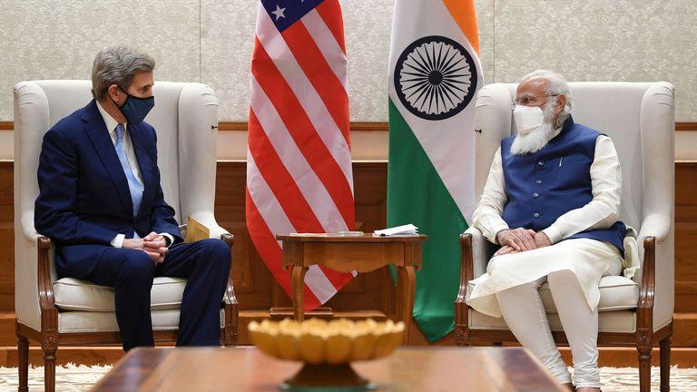 John Kerry meeting Indian Prime Minister Narendra Modi in New Delhi last week