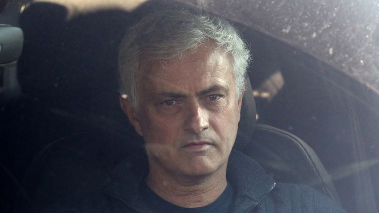 Jose Mourinho leaves Tottenham's Training Ground after being dismissed as manager