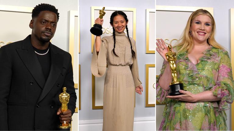 Daniel Kaluuya, Chloe Zhao and Emerald Fennell were among this year's Oscar winners. Pics: AP