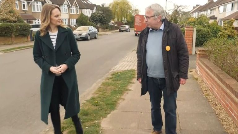 Lib Dem Chris White speaks to Sky's Kate McCann on the campaign trail in St Albans