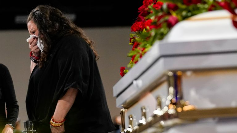 Katie Wright, the mother of Daunte Wright, cries as she walks past his coffin. Pic: AP