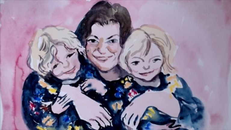 The painting of Kelly Fitzgibbons and her daughters Ava and Lexi Pic: Henny Beaumont