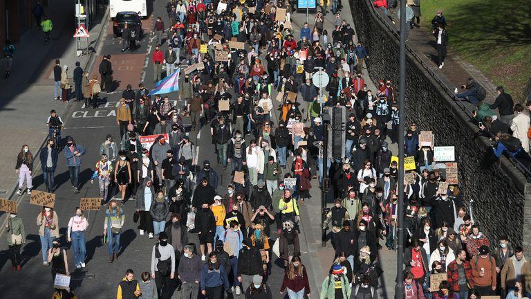 Demonstrators in Bristol on Saturday
