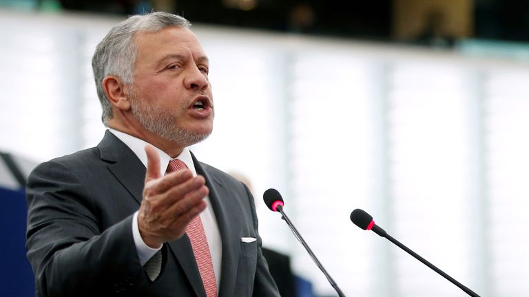 FILE PHOTO: King of Jordan Abdullah II addresses the European Parliament in Strasbourg, France January 15, 2020. REUTERS/Vincent Kessler/File Photo
