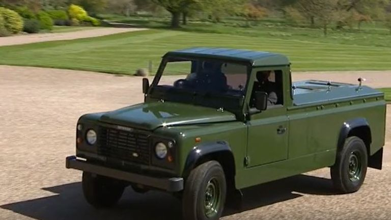 Prince Philip's land rover arrives for funeral