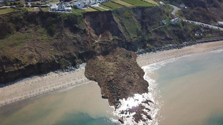 Landslide hits beach in Nefyn, north Wales