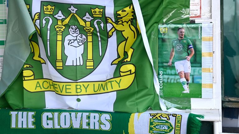 Tributes have been laid outside Huish Park in memory of Collins