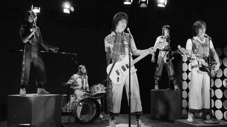 "Scottish pop group the Bay City Rollers are seen performing during the taping of a local New York City kids' television program ""Wonderama,"" Jan. 16, 1976. (AP Photo/Marty Lederhandler)"