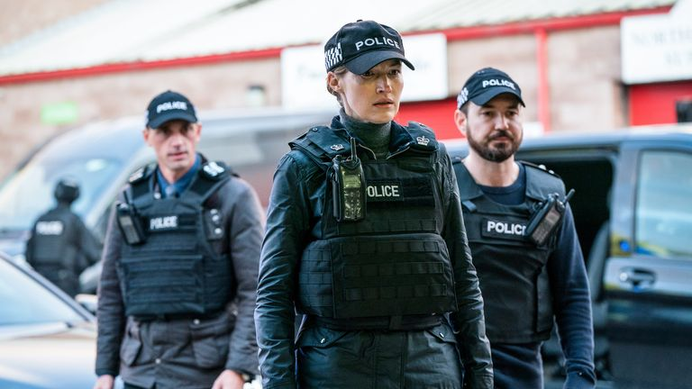 Kelly MacDonald as Jo Davidson and Martin Compston as Steve Arnott in Line Of Duty. Pic: BBC/World Productions/Steffan Hill