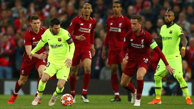 Lionel Messi in action for Barcelona against Liverpool in the Champions League. Pic: AP