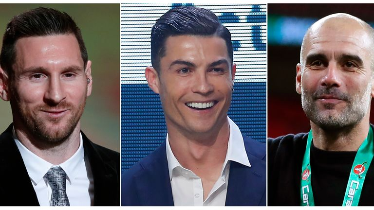(L-R) Barcelona's Lionel Messi, Juventus star Cristiano Ronaldo and Manchester City manager Pep Guardiola