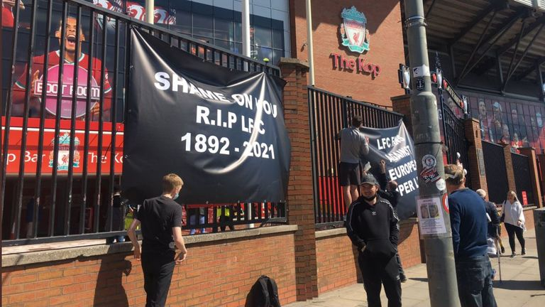 Liverpool fans protest outside Anfield football stadium