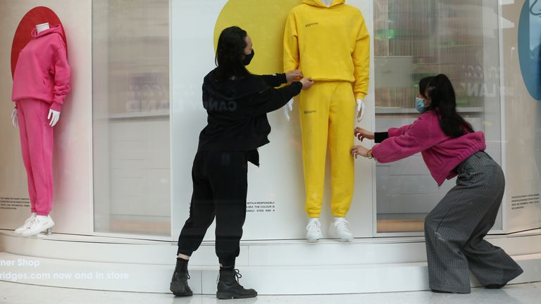 Visual merchandisers and windows team members put the finishing to the window display at the Selfridges store in London, revealing a preview of their latest theme 'Good Nature'. The store is preparing for reopening on April 12 when further lockdown restrictions are eased in England