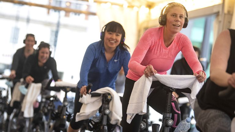 Gyms are open again, with spin classes, such as this one, available