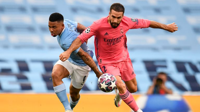 Manchester City's Gabriel Jesus (L) and Real Madrid's Dani Carvajal pictured during last season's Champions League. Pic: AP