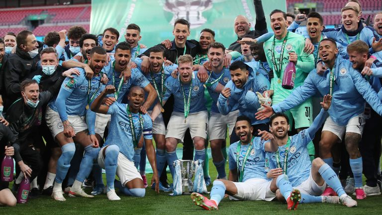 The City players with the cup
