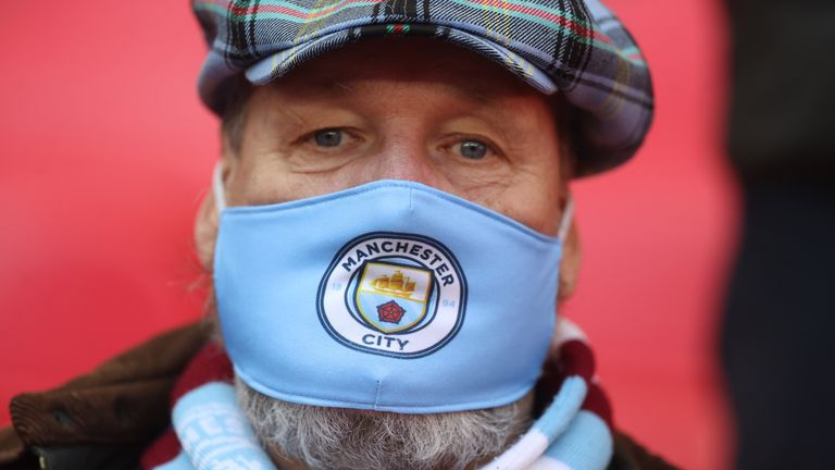 A Manchester City fan before the match