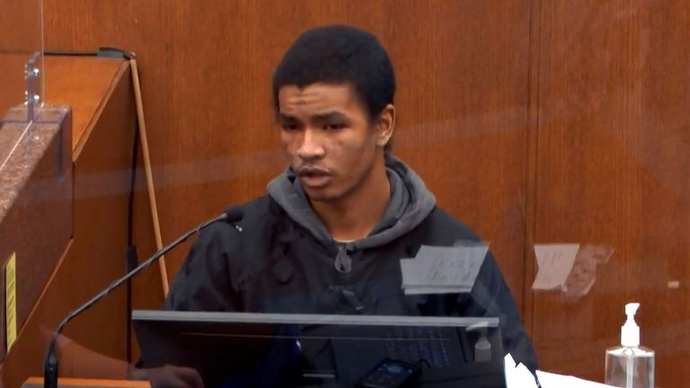 In this image from video, witness Christopher Martin answers questions Wednesday, March 31, 2021, in the trial of former Minneapolis police Officer Derek Chauvin, in the May 25, 2020, death of George Floyd at the Hennepin County Courthouse in Minneapolis, Minn. (Court TV via AP, Pool)