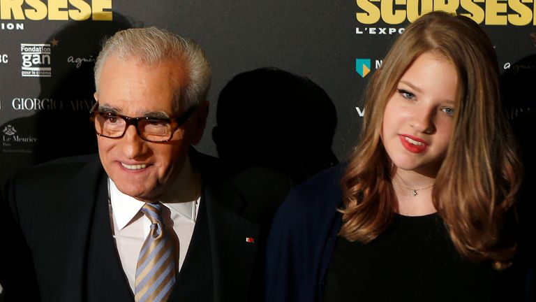 U.S. director Martin Scorsese, left, and his daughter Francesca pose during the opening of an exhibition at the French Cinematheque in Paris, France, Tuesday, Oct. 13, 2015. This exhibition dedicated to the American director comes to Paris to pay tribute to Scorsese's body of work. (AP Photo/Francois Mori)
