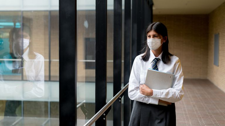 Secondary school pupils have to wear masks in schools but the schools minister hopes this restriction will be lifted on 17 May