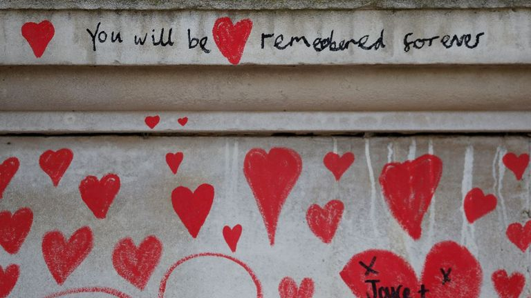 Messages are written on the National COVID Memorial Wall in London. Pic: AP
