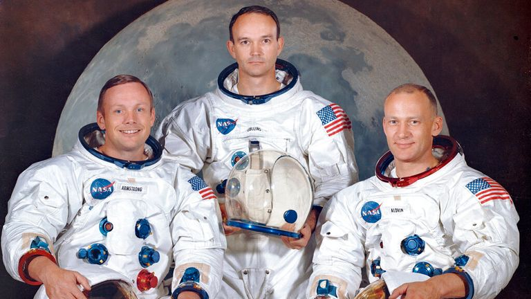 Left to right: Neil Armstrong, Michael Collins and 'Buzz' Aldrin. Pic: AP