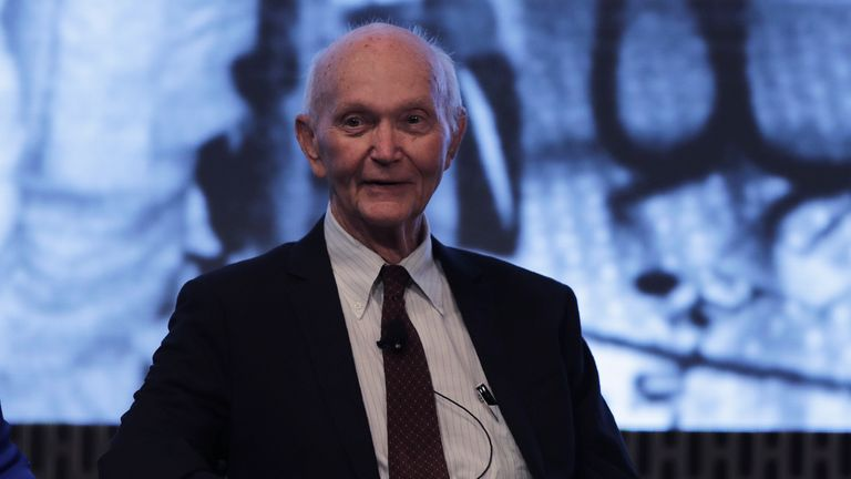 Astronaut Michael Collins during the JFK Space Summit at the John F. Kennedy Presidential Library in Boston, Wednesday, June 19, 2019. (AP Photo/Charles Krupa)