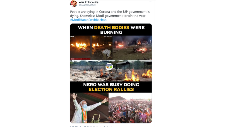 This image shows one of the removed tweets calling Modi as 'Nero'.