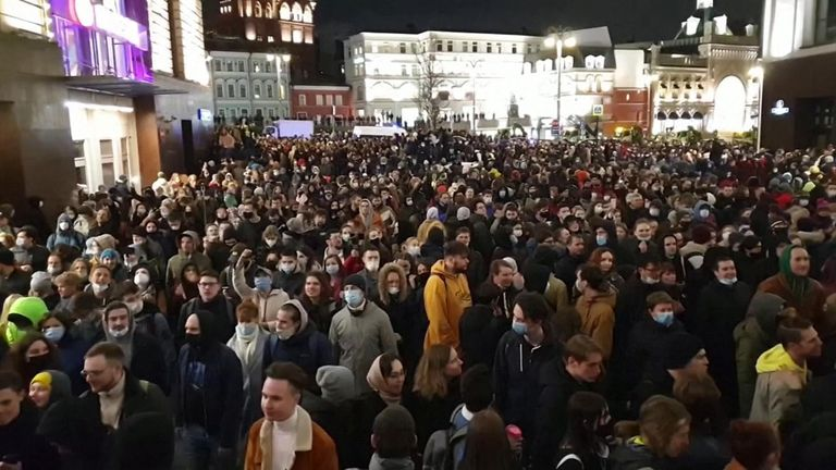 Pro Nalvalny protest in Moscow