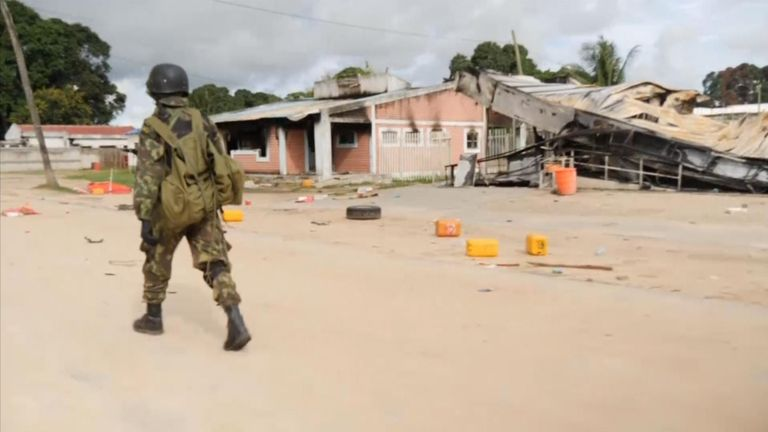 Dozens were killed when IS overran the town of Palma in Mozambique. Sky News was the first international team to see the full extent of the damage.