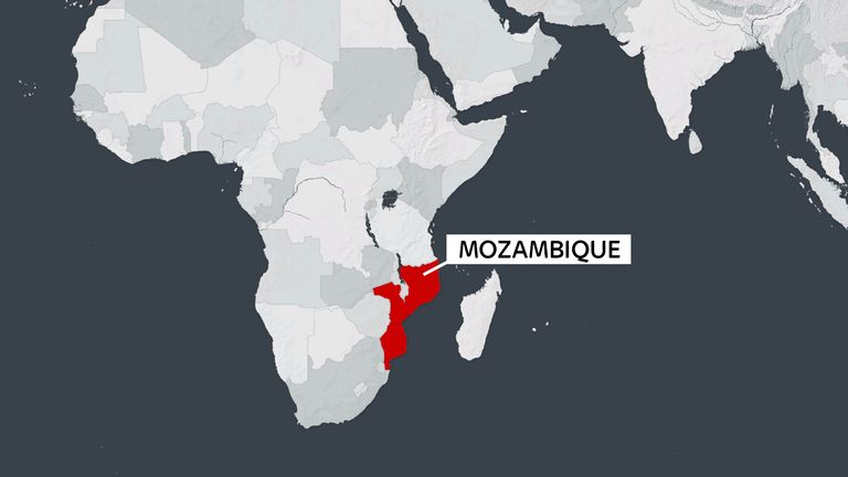 A map showing Mozambique in Africa