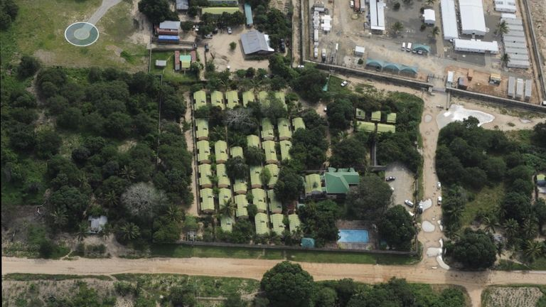 Aerial shot of the Amarula Hotel in Palma, Mozabmique, after insurgents attacked the area