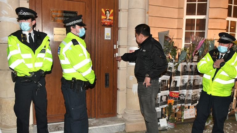 Myanmar ambassador to UK Kyaw Zwar Minn tries unsuccessfully to enter the Embassy of Myanmar in Mayfair, London. Picture date: Wednesday April 7, 2021.