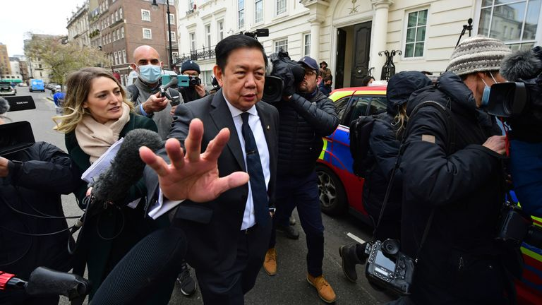 Kyaw Zwar Minn outside the Myanmar embassy in Mayfair