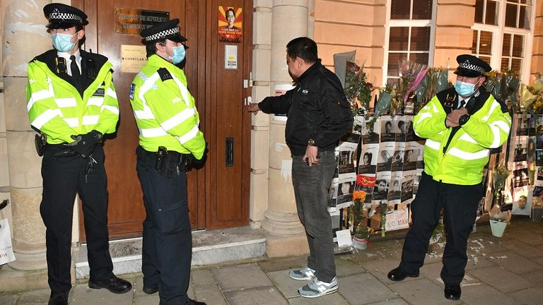 Myanmar ambassador to UK Kyaw Zwar Minn tries unsuccessfully to enter the embassy