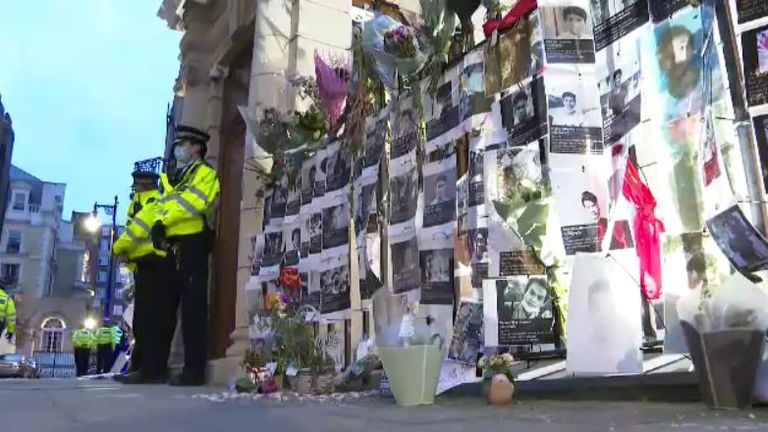 Police said public order officers were outside the embassy on Wednesday evening