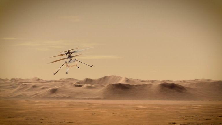 Ingenuity Mars Helicopter flies over Mars in undated illustration
