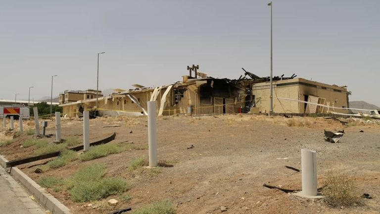 A damaged building after a fire broke out at the Natanz facility last July