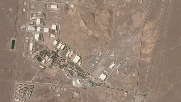 A satellite picture shows the Natanz facility on Wednesday. Pic: Planet Labs Inc via AP