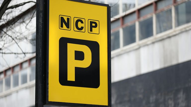 An NCP car park sign in London