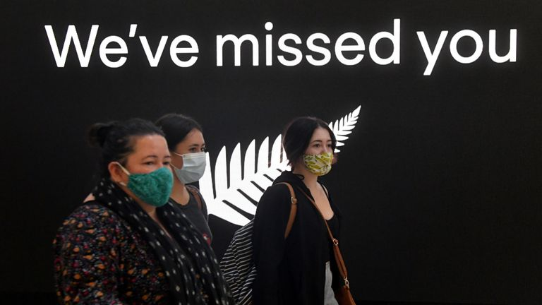 New Zealand travellers arrive at Sydney International Airport, as quarantine-free travel between Australia and New Zealand begins, in Sydney