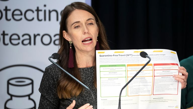 New Zealand..fs Prime Minister Jacinda Ardern announces in Wellington, Tuesday, April 6, 2021, conditions for quarantine-free travel with Australia. 06 April, 2021. The start of quarantine-free travel between the neighboring nations comes as a relief to families who have been separated by the coronavirus pandemic as well as to struggling tourist operators.(Mark Mitchell/New Zealand Herald via AP)