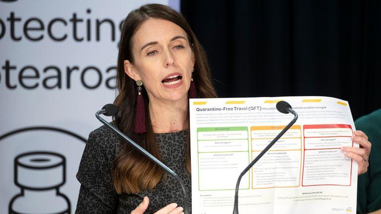 نخست وزیر نیوزیلند..fs Jacinda Ardern در ولینگتون ، سه شنبه 6 آوریل 2021 ، شرایط سفر بدون قرنطینه با استرالیا را اعلام کرد.  06 آوریل ، 2021. شروع سفر بدون قرنطینه بین کشورهای همسایه برای خانواده هایی که به دلیل بیماری همه گیر ویروس کرونا از هم جدا شده اند و همچنین اپراتورهای توریستی در حال تقلا است. (مارک میچل / نیوزلند هرالد از طریق AP)