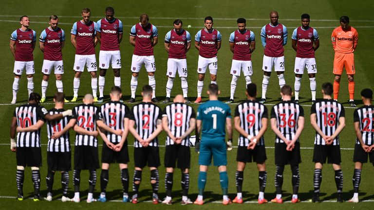 Soccer Football - Premier League - Newcastle United v West Ham United - St James' Park, Newcastle, Britain - April 17, 2021 Players observe a minute's silence on the day of the funeral of Britain's Prince Philip