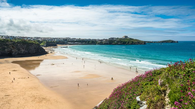 Yellow sands of Great Western beach in Newquay on the north Cornish Coast. England. UK.