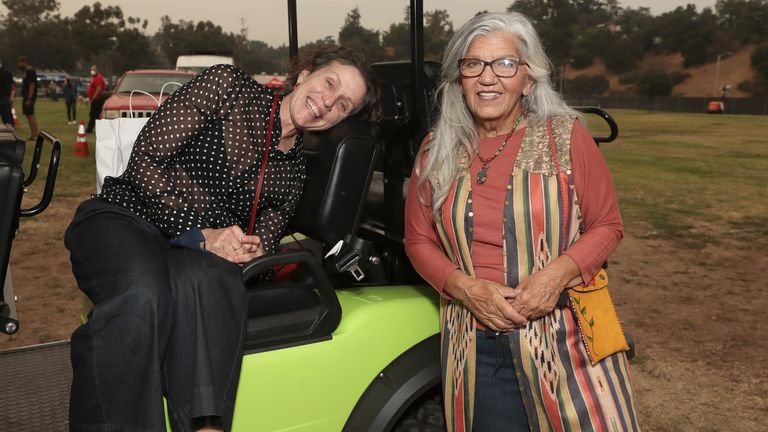 Nomadland stars Frances McDormand and Linda May at the drive-through premiere in LA in 2020. Pic: Searchlight Pictures/20th Century Studios