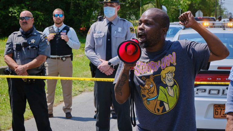 Protesters gathered near the scene following the fatal shooting of Andrew Brown Jr during a police stop. Pic AP/The Daily Advance