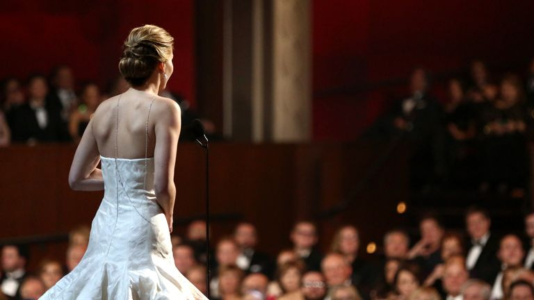 Jennifer Lawrence at the Oscars in 2013. Pic: AP