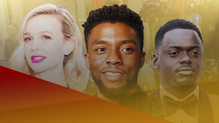 Oscar nominees Carey Mulligan, the late Chadwick Boseman and Daniel Kaluuya. Pics: AP